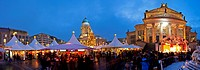 Traditional Christmas Market at Gendarmenmarkt illuminated at dusk, Berlin, Germany, Europe