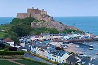 Mount Orgueil Castle, overlooking Grouville Bay in Gorey, Jersey, Channel Islands, United Kingdom, Europe