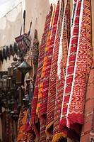 Traditional Moroccan rugs and lamps, street market, Fez, Morocco, North Africa, Africa
