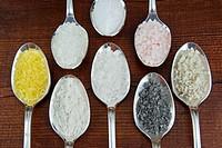 Different types of salt, From left clockwise: Lemon salt, Dead Sea coarse salt, Italian fine sea salt, Himalayan coarse pink salt, French Atlantic Oce...