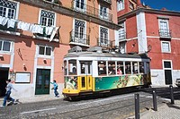 Tram in a street of the Alfama district  Lisbon  Portugal