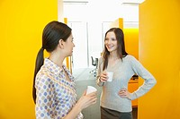 Businesswomen drinking tea in an office (thumbnail)