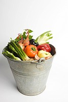 Bucket filled with assorted fresh vegetables (thumbnail)