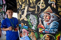 Thailand, Chiang Mai, Borsang Umbrella Village, Umbrella Artist with Artwork Sample Display