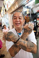 Singapore, Chinatown, Tatooed Man