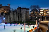UK, England, Tower of London, winter icerink, City Hall beyond