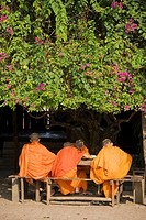 Laos - A group of Buddhist novices at their studies in the Buddhist monastery of Vat Sensoukharam in Luang Prabang  In 1995 Luang Prabang was declared...