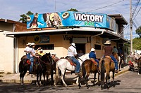 Horse riders stopping at a bar at Liberia