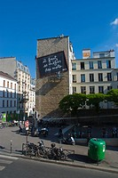 Art installation on side of a building Belleville district Paris France Europe