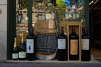 Wine Shop exterior with giant bottles St-Germain-des-Pres Paris France Europe