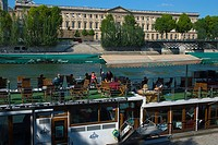 Boat restaurant Quai Malaquais St-Germain-des-Pres Paris France Europe