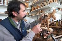 Europe, Greece, Peloponnese, Arkadia region, Vytina, Alejio Panagiotopoulo, wood artisan