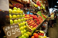 Fresh Fruit shop in the market of La Boqueria in las Ramblas of Barcelona, Spain