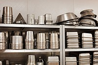 Kitchen utensils and baking tins, commercial kitchen