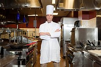 Male chef in commercial kitchen, portrait