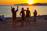 Restaurant Cap des Falco. Chiringuito. Es Codolar Beach. Ses Salines Natural Park. Young people enjoying the Sunset. Ibiza. Balearic Islands  Spain.