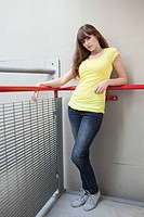 Young woman in stairwell