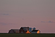 buildings, sun, farm, up, lighting, setting