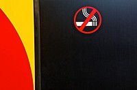 symbol of a cigarette showing that it is forbidden to smoke on a train carriage