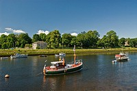 Boats on the River Leven at Dumbartonn West Dunbartonshire Scotland