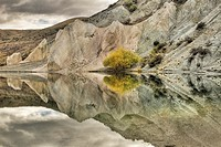 Blue Lake reflection, St Bathan's, autumn, Central Otago, New Zealand