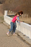 looking, saskatchewan, scenic, bridge, girls