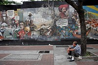 downtown, person, murals, political, venezuela, people