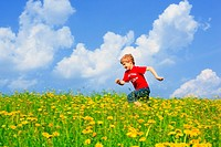 boy running through field of Dandelions,Zuercher Oberland, Zuerich, Switzerland