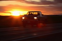 behind, scenic, car, passing, sunset