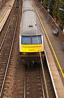 A train arrives at the station of Stowmarket in Suffolk , England , Great Britain , Uk