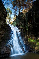 England, Northumberland, near Bellingham. Hareshaw Linn is a spectacular waterfall located in a steep sided gorge, which continues to flow through a w...