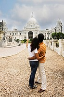 Couple looking at a memorial, Victoria Memorial, Kolkata, West Bengal, India
