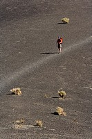 Hiker at Ubehebe crater, Death valley national park