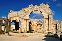 ruin of Saint Simeon Monastery, Qala´at Samaan, Qalaat Seman archeological site, Dead Cities, Syria, Middle East, West Asia