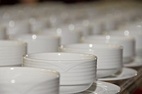 bowls, up, soup, cups, coffee, lined