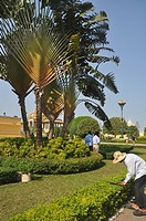 Phnom Penh (Cambodia): gardener at work at the Royal Palace