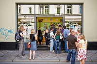 People queued at icecream café, Erfurt, Germany