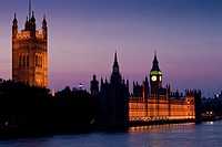 The Victoria Tower and Houses of Parliament at Dusk, London, England