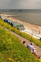 A view of the beach and pier at Southwold , Suffolk , England , Great Britain , Uk
