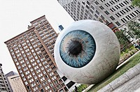 CHICAGO - July 11: Eyeball Art Installation by Tony Tasset in Pritzker Park in Chicago Illinois July 11,2010  Photo by Linda Matlow