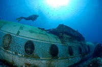 Diver at Airplane Wreck, Caribbean Sea, Netherland Antilles, Curacao