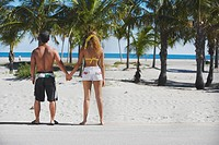 Rear view of a couple standing and holding hands on the beach