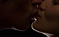 backlit, couple, up, close, kiss