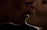 backlit, couple, up, close, kiss