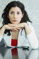 Close_up of a businesswoman thinking