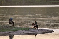 saskatchewan, riders, scenic, lake, shore, horse