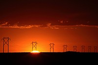 towers, sunset, power, saskatchewan, behind, gorgeous