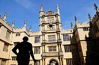 The Old Bodleian Library with Silhouetted Statue of the Earl of Pembroke, Oxford, England, UK