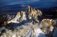 Aerial view at 3400 meters of Mount Fitzroy