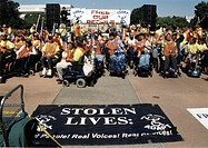 Crowd of people with disabilities preparing to MARCH ON WASHINGTON, D.C. to advocate for the civil rights of people with disabilities.